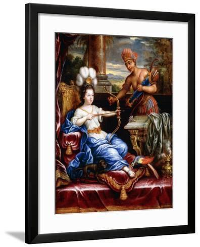 An Allegory of America Paying Homage to Europe-Pierre Mignard-Framed Art Print
