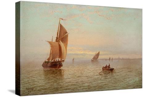 Evening, Coastal Scene, 1892-Thomas Lucop-Stretched Canvas Print