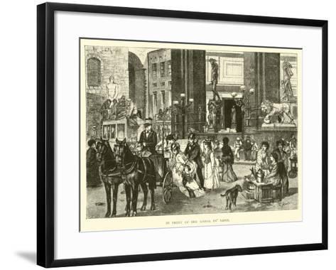 In Front of the Loggia De' Lanzi--Framed Art Print