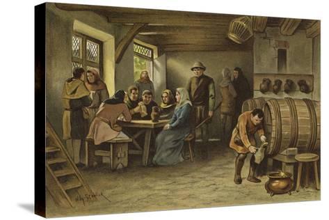 Scene in a Dutch Tavern, 14th Century-Willem II Steelink-Stretched Canvas Print