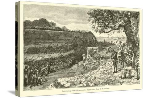 Attack on a Germanic Encampment by the Romans-Willem II Steelink-Stretched Canvas Print