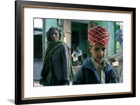 Kid with an Old Woman, Rajasthan, India--Framed Art Print