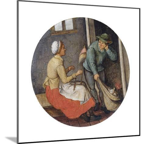 A Proverb - Letting the Cat Out of the Bag-Pieter Brueghel the Younger-Mounted Giclee Print