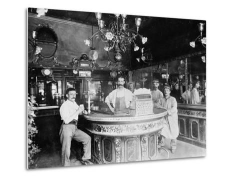Cafe in Paris, C.1910--Metal Print