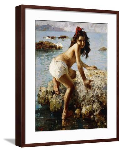 The Girl on the Rock-Vicenzo Irolli-Framed Art Print