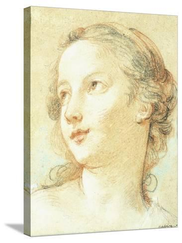 The Head of a Girl Looking to the Left-Charles Joseph Natoire-Stretched Canvas Print