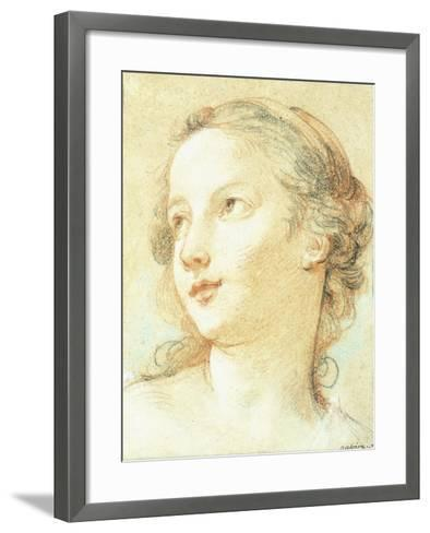 The Head of a Girl Looking to the Left-Charles Joseph Natoire-Framed Art Print