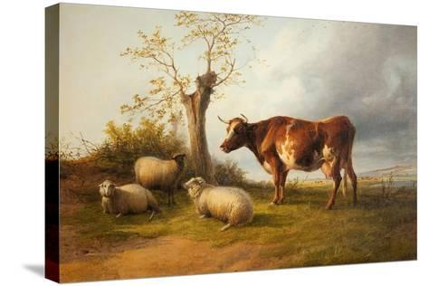View in Stour Valley with Cow-Thomas Sidney Cooper-Stretched Canvas Print