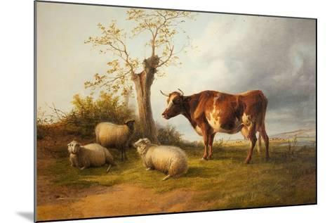 View in Stour Valley with Cow-Thomas Sidney Cooper-Mounted Giclee Print