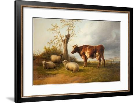 View in Stour Valley with Cow-Thomas Sidney Cooper-Framed Art Print