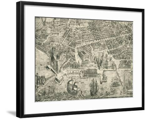 View of Naples and Castel Nuovo--Framed Art Print