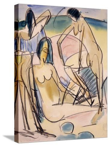 Bathers on the Shore, Fehmarn-Ernst Ludwig Kirchner-Stretched Canvas Print