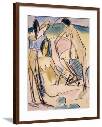 Bathers on the Shore, Fehmarn-Ernst Ludwig Kirchner-Framed Art Print