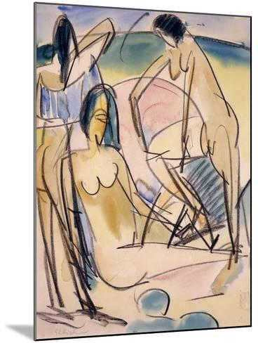 Bathers on the Shore, Fehmarn-Ernst Ludwig Kirchner-Mounted Giclee Print