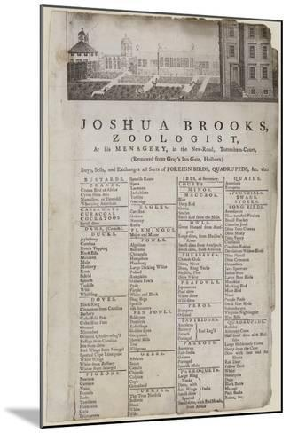 Zoologist, Joshua Brooks, Trade Card--Mounted Giclee Print