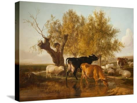 Canterbury Meadows, Evening-Thomas Sidney Cooper-Stretched Canvas Print