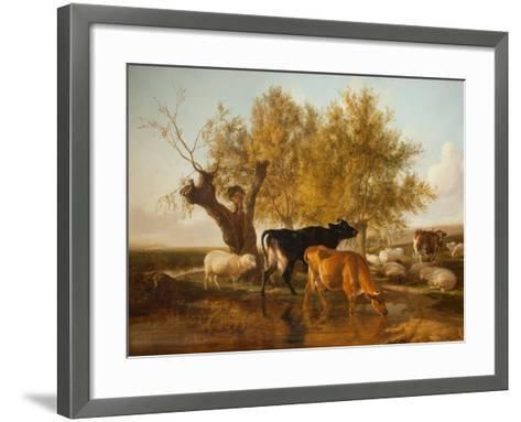 Canterbury Meadows, Evening-Thomas Sidney Cooper-Framed Art Print