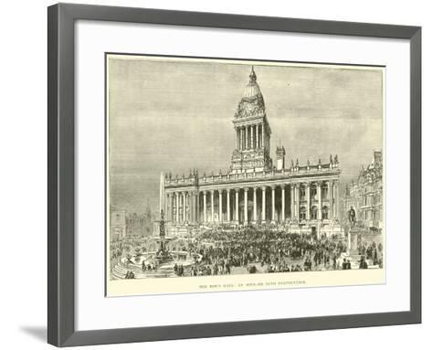 The Town Hall, an Open-Air Band Performance--Framed Art Print