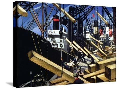 Loading Timber, Southampton Docks, 1916-17-Christopher Richard Wynne Nevinson-Stretched Canvas Print