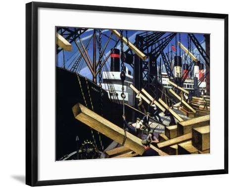 Loading Timber, Southampton Docks, 1916-17-Christopher Richard Wynne Nevinson-Framed Art Print