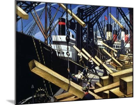 Loading Timber, Southampton Docks, 1916-17-Christopher Richard Wynne Nevinson-Mounted Giclee Print