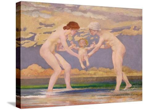 The Water's Edge: Two Women and a Baby-Charles Sims-Stretched Canvas Print