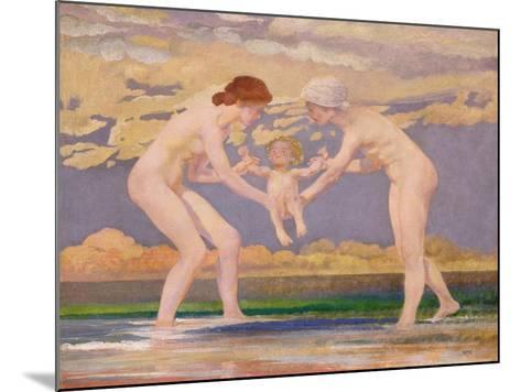 The Water's Edge: Two Women and a Baby-Charles Sims-Mounted Giclee Print