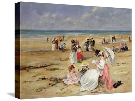 Beach at Courseulles-Henri Michel-Levy-Stretched Canvas Print