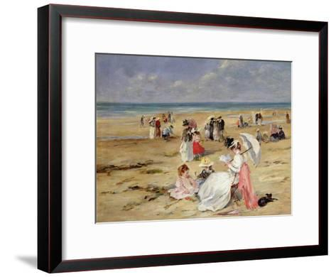 Beach at Courseulles-Henri Michel-Levy-Framed Art Print