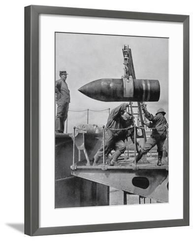 French Army Hoisting Giant Gun Shells, C.1916--Framed Art Print