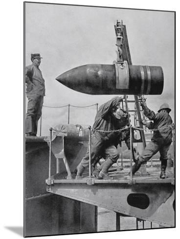 French Army Hoisting Giant Gun Shells, C.1916--Mounted Photographic Print