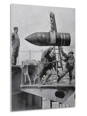French Army Hoisting Giant Gun Shells, C.1916--Metal Print