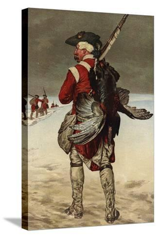 Soldier Carrying a Turkey--Stretched Canvas Print