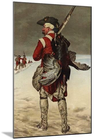 Soldier Carrying a Turkey--Mounted Giclee Print