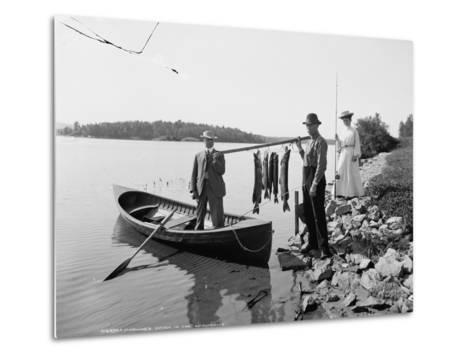 A Morning's Catch in the Adirondacks, C.1903--Metal Print