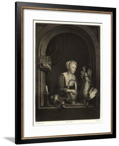 A Woman Hanging Up a Fowl-Gerrit or Gerard Dou-Framed Art Print