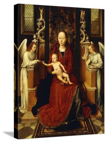 The Virgin and Child Enthroned with Two Angels-Hans Memling-Stretched Canvas Print