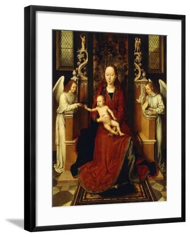 The Virgin and Child Enthroned with Two Angels-Hans Memling-Framed Art Print