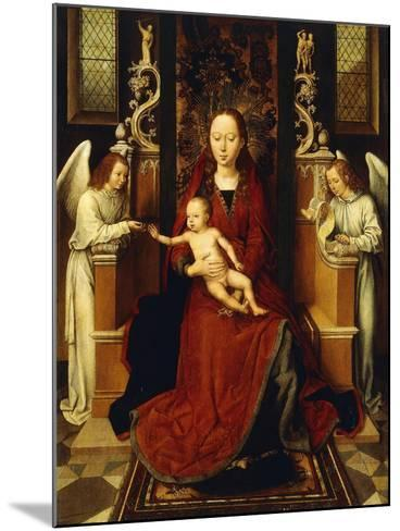 The Virgin and Child Enthroned with Two Angels-Hans Memling-Mounted Giclee Print