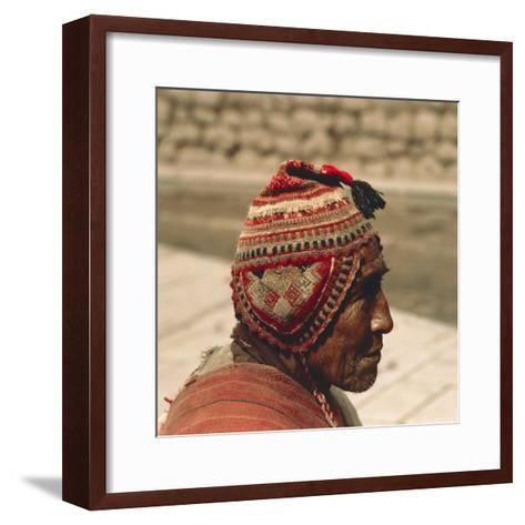 Man Wearing a Chullo, 20th Century--Framed Art Print