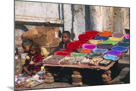 Children at a Colour Pigments Market Stand--Mounted Photographic Print