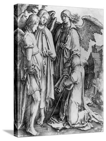 Saint Kneeling before Angels--Stretched Canvas Print