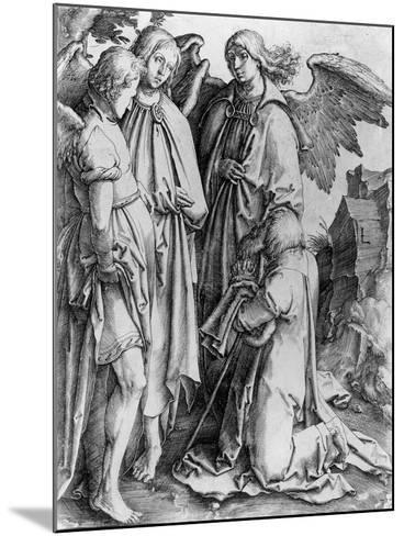Saint Kneeling before Angels--Mounted Giclee Print