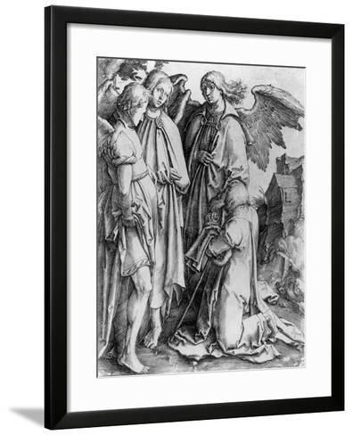 Saint Kneeling before Angels--Framed Art Print