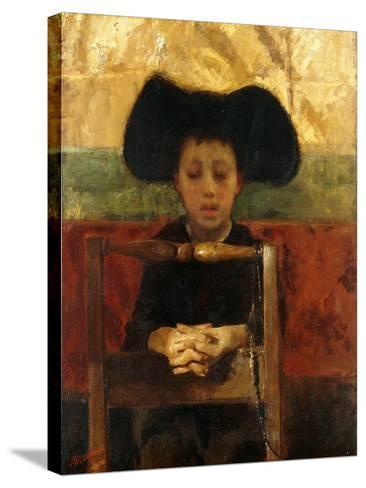 Altar Boy Praying, C.1865-1875-Antonio Mancini-Stretched Canvas Print