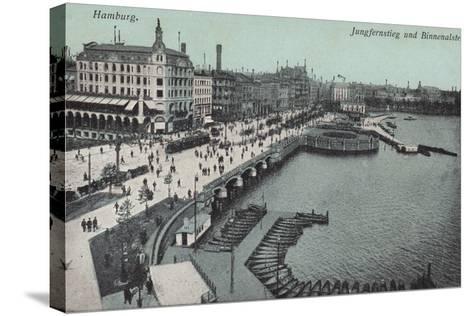 Hamburg - Jungfernstieg and Binnenalster--Stretched Canvas Print