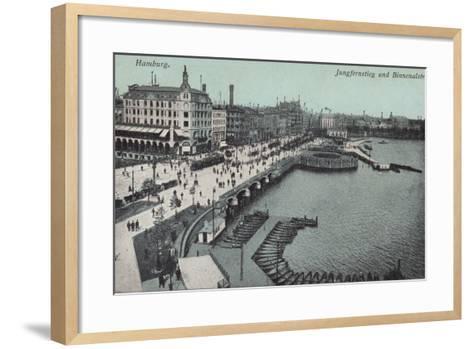 Hamburg - Jungfernstieg and Binnenalster--Framed Art Print
