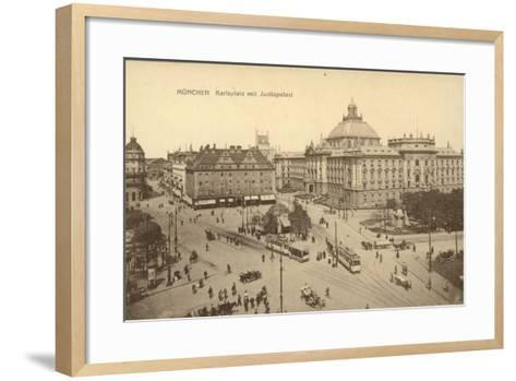 Karlsplatz with the Palace of Justice in Munich--Framed Art Print