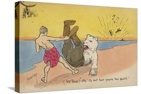 "(Mr Bear) ""Oh! its Not Fair You'Re Too Quick""--Stretched Canvas Print"