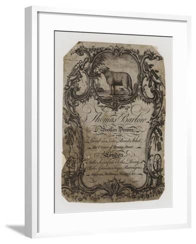 Woolen Drapers, Thomas Barton, Trade Card--Framed Art Print